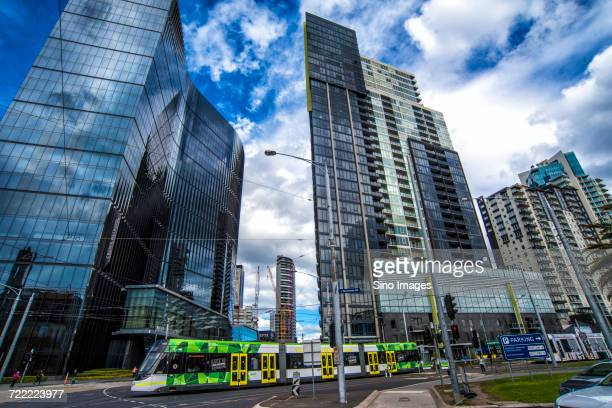 Tram in front of skyscrapers, Melbourne, Sydney, Australia