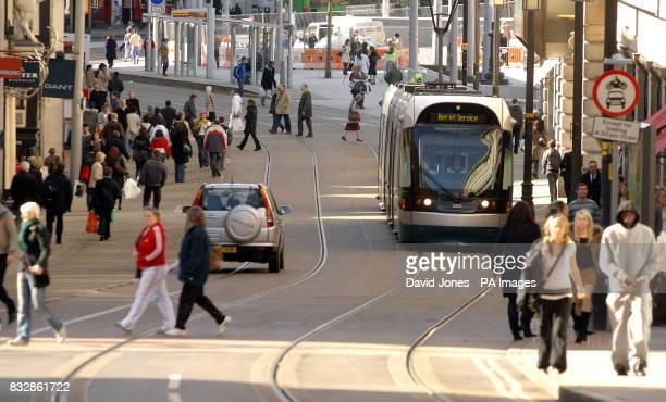 A tram in Nottingham