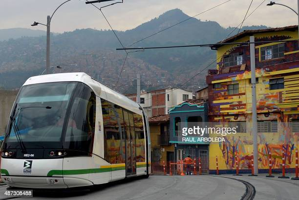 A tram is tested in Medellin Antioquia department Colombia on September 8 2015 The French government through the French Development Agency signed an...