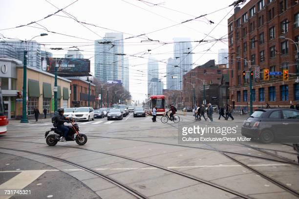 Tram lines through city, Toronto, Canada