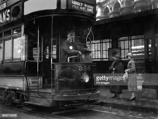 Tram No389 to Abbey Wood South London picks up passengers