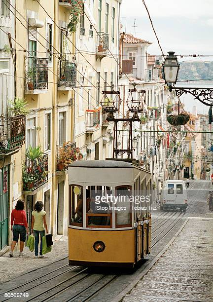 A tram on a street in Lisbon, Portugal