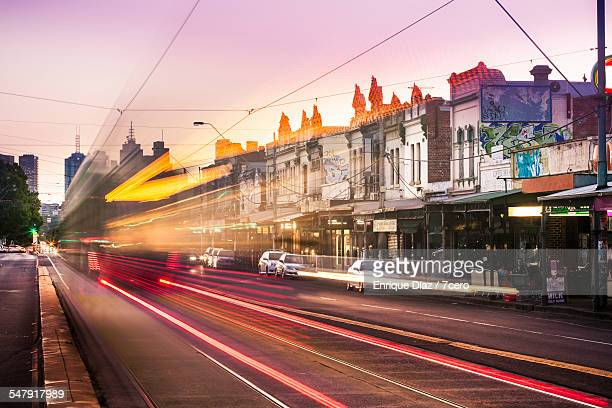 A tram passing in Nicholson St.