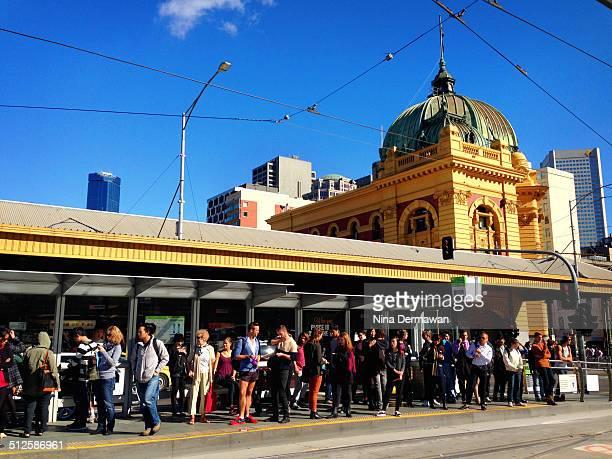 Tram stop in front of Flinders Street Train Station