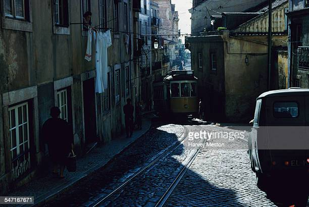 A tram travelling through the streets of Lisbon Portugal circa 1960