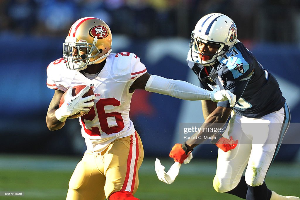 Tramaine Brock #26 of the San Francisco 49ers carries the ball during a NFL game against the Tennessee Titans at LP Field on October 20, 2013 in Nashville, Tennessee.