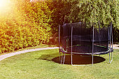 Trampoline in the backyard. Trampoline on the lawn. Leisure. Entertainment, Sports, Game