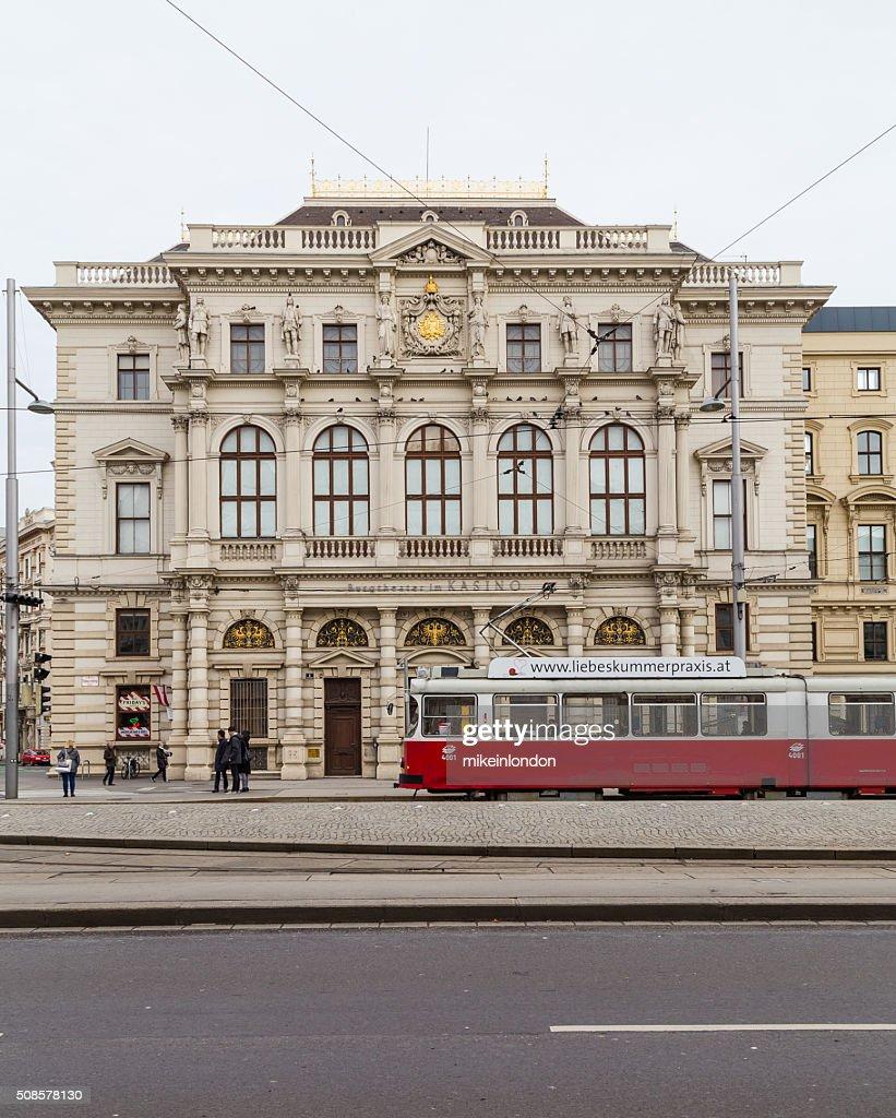 Trams and Buildings along Scwarzenberglatz in Vienna : Stock Photo