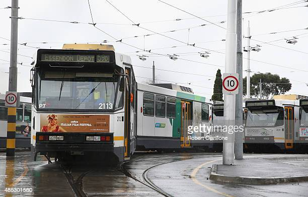 Trams are seen parked at the Essendon Tram Depot on August 27 2015 in Melbourne Australia The strike is due to a pay dispute between drivers and...