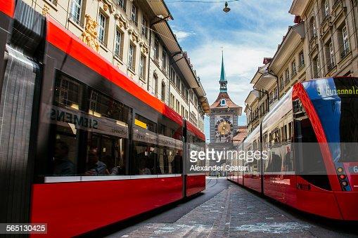 Trams at Marktgasse street, Bern, Switzerland