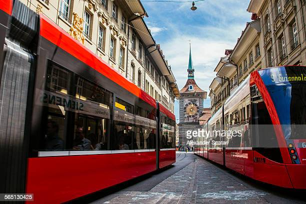 Trams at Marktgasse street, Bern, Switzerland