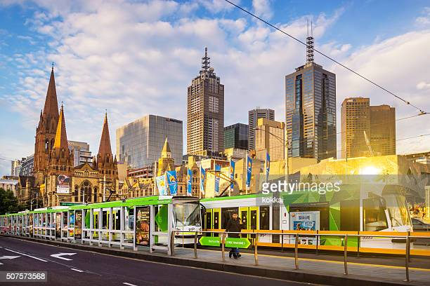 Trams before Melbourne Skyline