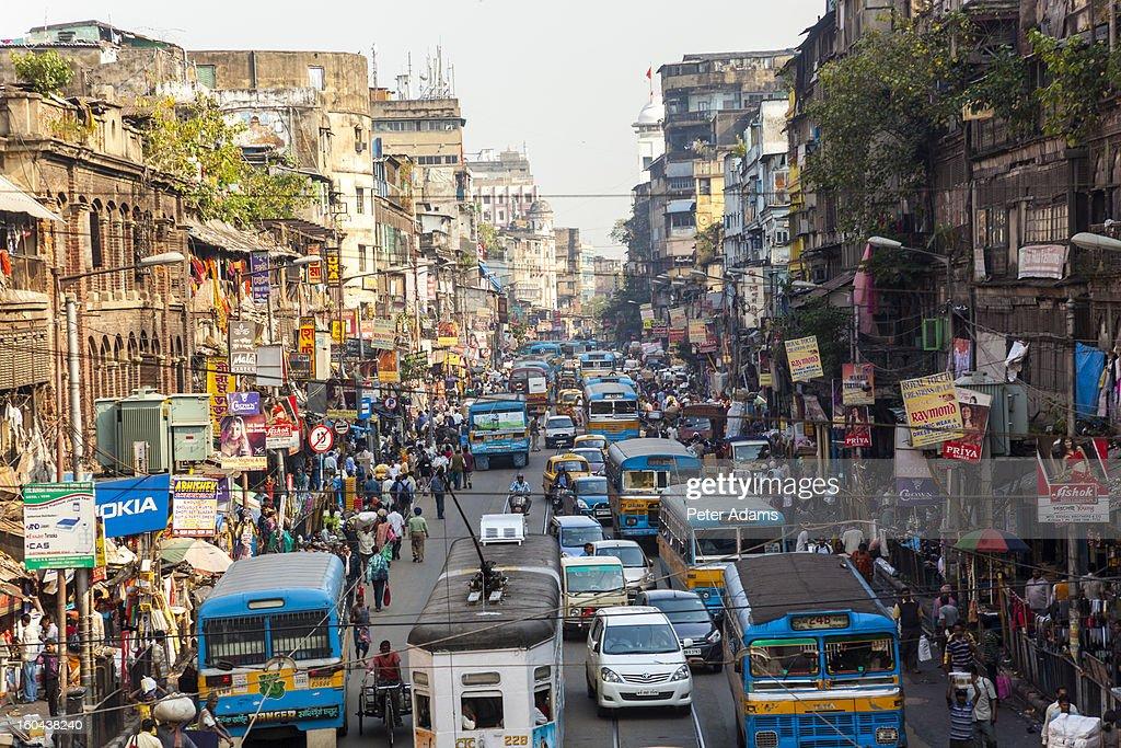 Trams, buses & traffic Kolkata, India : Stock Photo