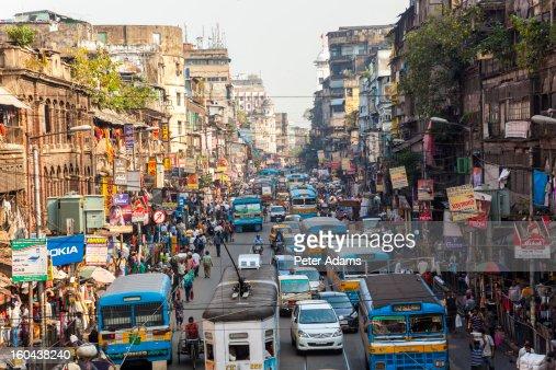Trams, buses & traffic Kolkata, India