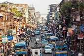 Trams, buses & traffic Kolkata, India