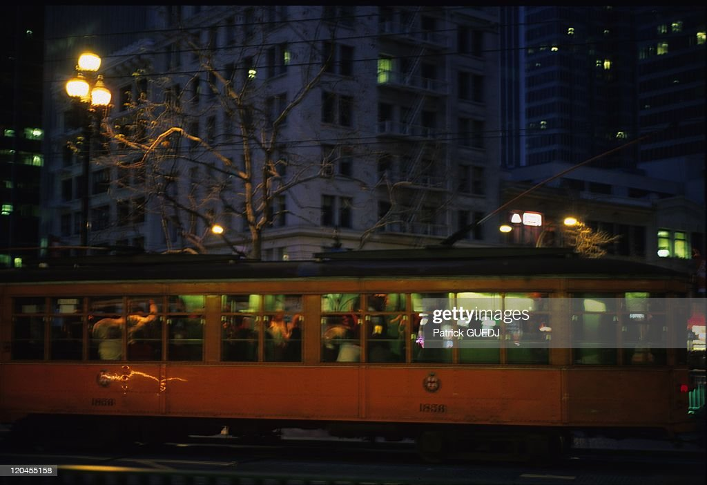 Tramway on mission street in Embarcadero district San Francisco California United States