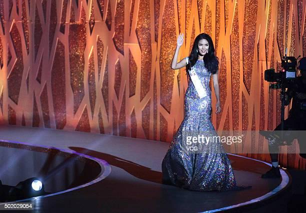 Tran Ngoc Lan Khue of Vietnam wins People's Choice award during the Miss World Grand Final on December 19 2015 in Sanya Hainan Province of China