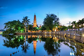 The Trấn Quốc Pagoda in Hanoi is the oldest pagoda in the city, originally constructed in the sixth century during the reign of Emperor Lý Nam Đế (from 544 until 548), thus giving it an age of more th