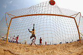 Trang D Huang of Vietnam misses a save during the Men's Beach Soccer Preliminary match between Vietnam and Palestine on Day 0 of the 3rd Asian Beach...
