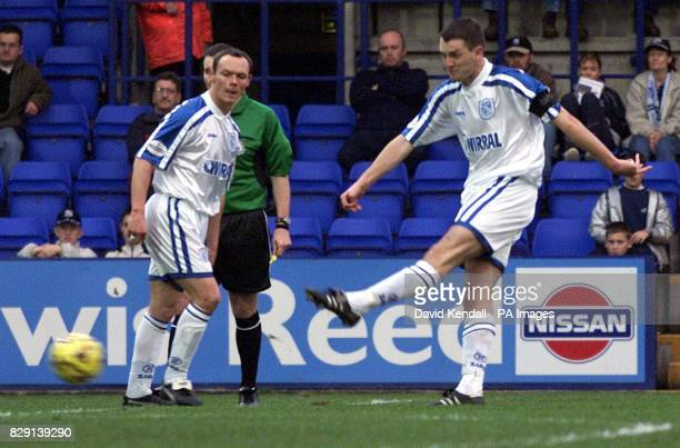 Tranmere Rovers' Clint Hill scores their first goal from the free kick awarded after Cambridge keeper Lionel Perez was sent off during the Nationwide...