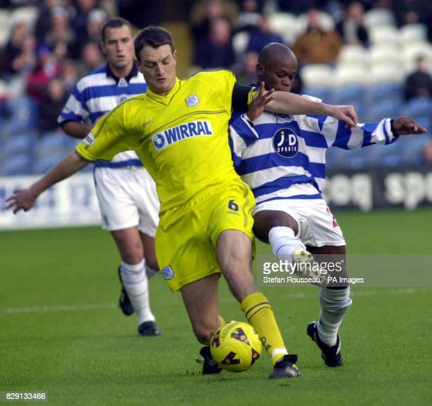 Tranmere Rovers' Clint Hill tussles with QPR's Doudou during the Nationwide Division Two match at South Africa Road LondonTHIS PICTURE CAN ONLY BE...