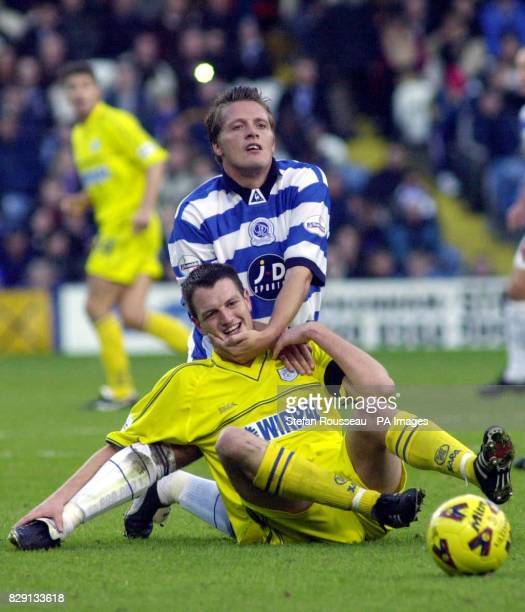 Tranmere Rovers' Clint Hill tussles with QPR's Stuart Wardley during the Nationwide Division Two match at South Africa Road London THIS PICTURE CAN...