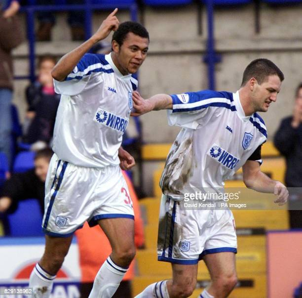 Tranmere's Jason Price celebrates his goal with teammate Clint Hill during the Nationwide Division Two game between Tranmere Rovers and Cambridge...