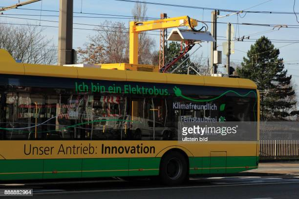 tranport road traffic passenger transportation electric bus at a charging station Battery electric bus Solaris Urbino current collector bus of the...