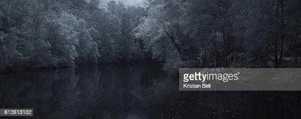 A tranquil and romantic lake scene in rural France
