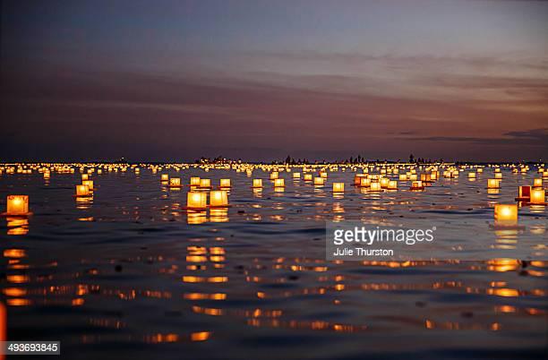 Tranquil Japanese Paper Floating Lanterns