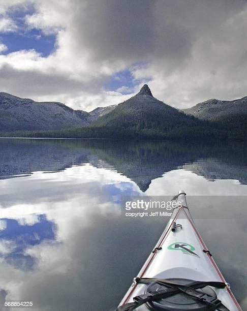 Tranquil paddle on Lake St Clair, Tasmania, Aust