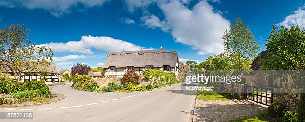 Tranquil summer village street pretty thatched cottages luxury homes panorama