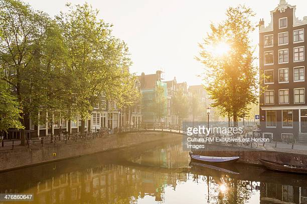 Tranquil view of canal, Amsterdam, Netherlands