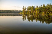 Scenic northern Michigan wilderness lake at daybreak, with golden light illuminating a pine forest peninsula.