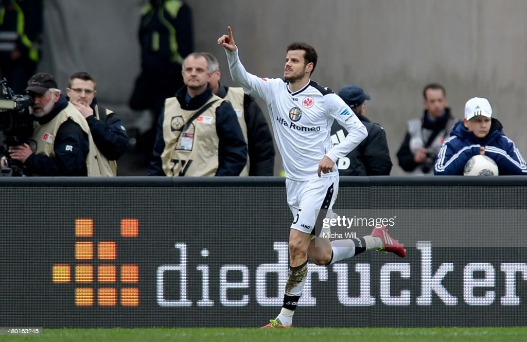 <a gi-track='captionPersonalityLinkClicked' href=/galleries/search?phrase=Tranquillo+Barnetta&family=editorial&specificpeople=534444 ng-click='$event.stopPropagation()'>Tranquillo Barnetta</a> of Frankfurt celebrates after scoring the opening/first goal during the Bundesliga match between 1. FC Nuernberg and Eintracht Frankfurt at Grundig Stadium on March 23, 2014 in Nuremberg, Germany.