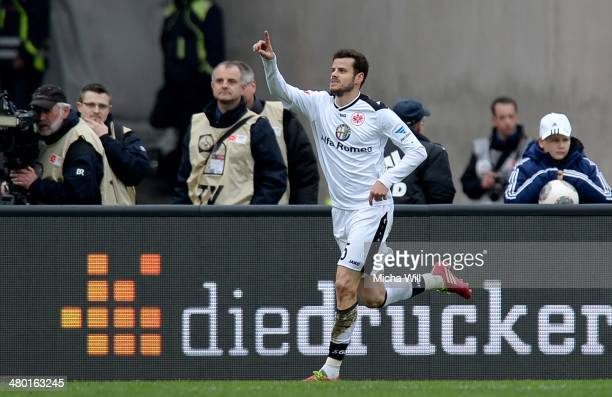 Tranquillo Barnetta of Frankfurt celebrates after scoring the opening/first goal during the Bundesliga match between 1 FC Nuernberg and Eintracht...