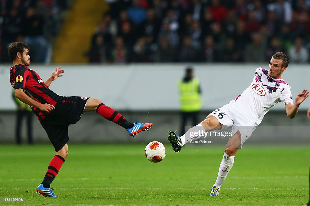 <a gi-track='captionPersonalityLinkClicked' href=/galleries/search?phrase=Tranquillo+Barnetta&family=editorial&specificpeople=534444 ng-click='$event.stopPropagation()'>Tranquillo Barnetta</a> (L) of Frankfurt is challenged by <a gi-track='captionPersonalityLinkClicked' href=/galleries/search?phrase=Gregory+Sertic&family=editorial&specificpeople=5853019 ng-click='$event.stopPropagation()'>Gregory Sertic</a> of Bordeaux during the UEFA Europa League Group F match between Eintracht Frankfurt and FC Girondins de Bordeaux at Commerzbank Arena on September 19, 2013 in Frankfurt am Main, Germany.