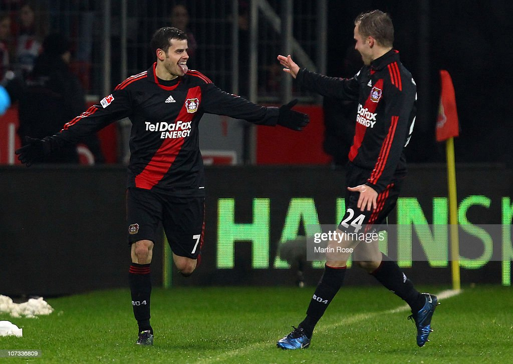 <a gi-track='captionPersonalityLinkClicked' href=/galleries/search?phrase=Tranquillo+Barnetta&family=editorial&specificpeople=534444 ng-click='$event.stopPropagation()'>Tranquillo Barnetta</a> (L) of Leverkusen celebrates after scoring the 2nd goal during the Bundesliga match between Bayer Leverkusen and 1. FC Koeln at BayArena on December 05, 2010 in Leverkusen, Germany.