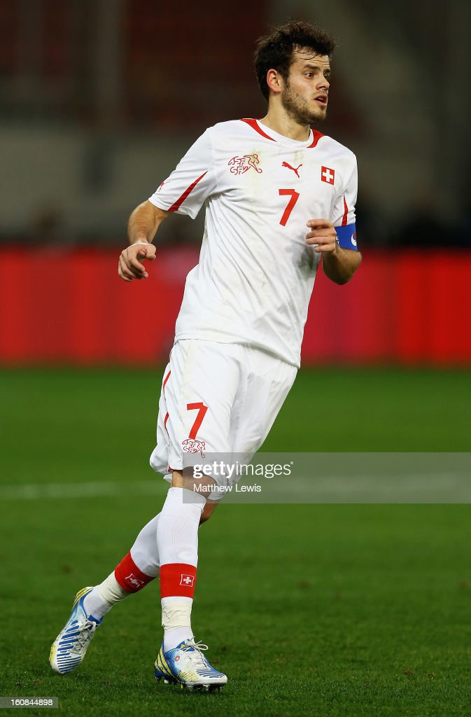 Tranquillo Barnetta of Switzerland in action during the International Friendly match between Greece and Switzerland at Karaiskakis Stadium on February 6, 2013 in Athens, Greece.