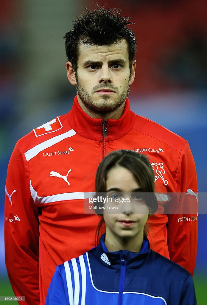 <a gi-track='captionPersonalityLinkClicked' href=/galleries/search?phrase=Tranquillo+Barnetta&family=editorial&specificpeople=534444 ng-click='$event.stopPropagation()'>Tranquillo Barnetta</a> of Switzerland lines up ahead of the International Friendly match between Greece and Switzerland at Karaiskakis Stadium on February 6, 2013 in Athens, Greece.