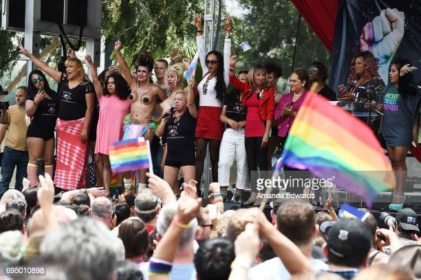 Trans activist Bamby Salcedo attends the LA Pride ResistMarch on June 11 2017 in West Hollywood California