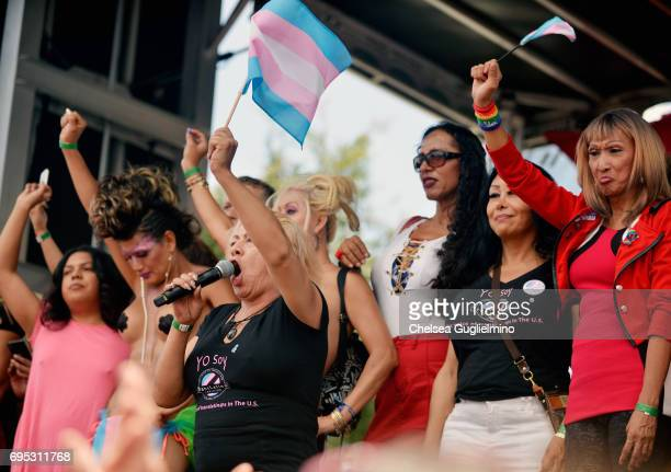 Trans activist Bamby Salcedo speaks at the LA Pride ResistMarch on June 11 2017 in West Hollywood California
