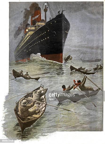 Transatlantic liner and small boats of fishermen danger illustration from french newspaper 'Le Petit Journal' december 29 1907
