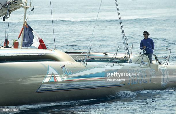 Transatlantic record of Florence Arthaud in Brest France on March 08th 1990