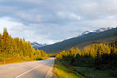Trans-Canada highway No.16 in the Spring Evening, Mount Robson Provincial Park, Canadian Rockies, British Columbia, Canada