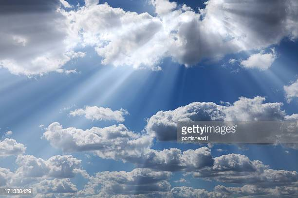 Transcendental light shining through cloudscape