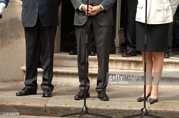 Transfer of power in Ministry of the Interior between Francois Baroin and Michelle Alliot Marie in Paris France on May 18 2007 Michelle Alliot Marie...