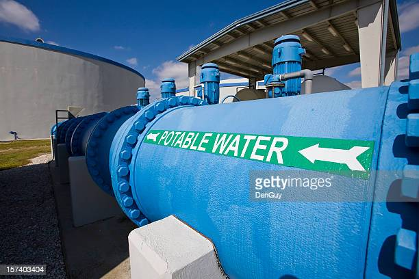 Transfer Pipe in Water Purification Plant Holding Tanks Background