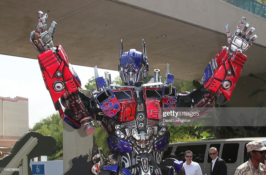 Transformer Optimus Prime figure appears at the world premiere of Universal Studios Hollywood's 'Transformers The Ride3D' at Universal Studios...