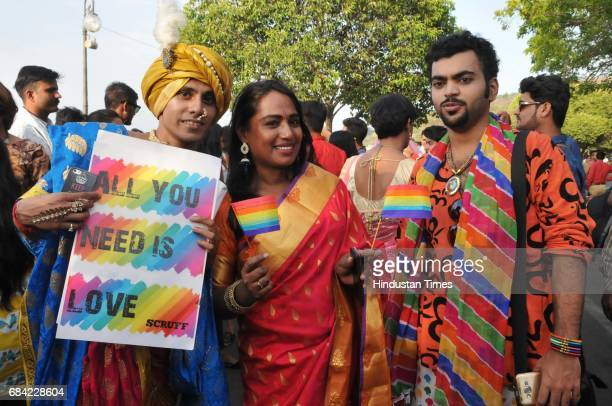 Transgender activist cum actor Kalki Subramaniam along with other LGBT community members during central India`s first gay pride parade taken out to...